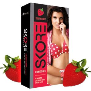 Skore Strawberry online condom shopping bd from goponjinish